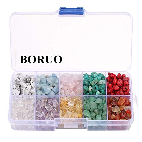 BORUO Gemstone Beads, Natural Chips Irregular 10 Color Passion Theme Assorted Box Set Loose Beads 7~8mm Crystal Energy Stone Healing Power for Jewelry Making(Plastic Box is Included) (Gemstone Chip Bracelet)