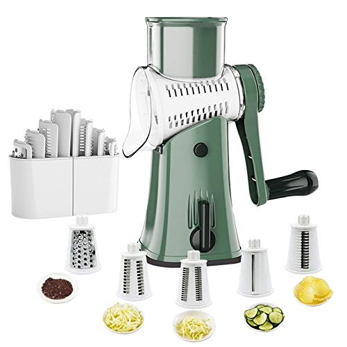 Rotary Graters 5 in 1 Rotary Cheese Grater Latest Upgrade Round Mandoline Slicer with NonBroken Strong Handheld Easy to Clean Cheese Shredder for FruitVegetablesNuts BPA Free