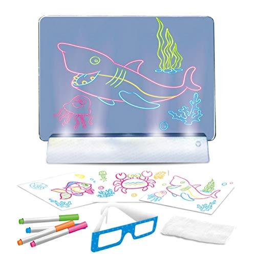 HAOXU Tableta de Dibujo 3D con Pantalla para niños Luminou Pintura Tablero de Dibujo para niños con Pluma