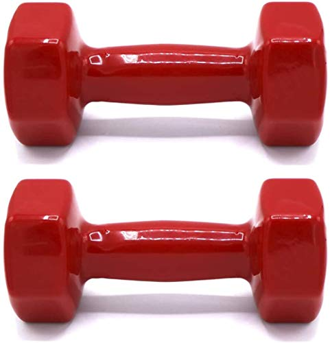Juego de Mancuernas Pack de 2 Antideslizantes 1KG 1,5KG 2KG 3KG 4KG 5KG 6KG | Mancuernas Vinilo Fitness | Mancuernas Gimnasio en casa | Ejercicio Fitness (Rojo, 2X 1.5KILO)