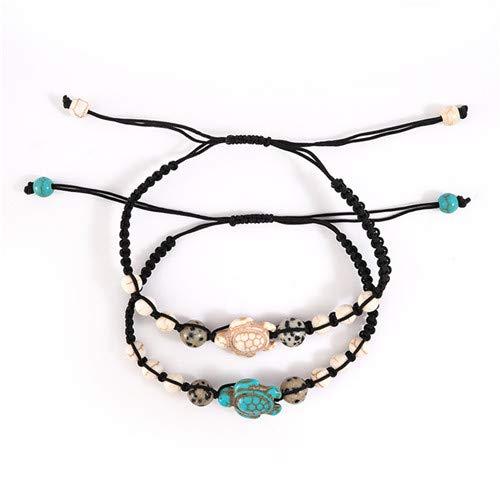 Sperrins 2 Pcs Tortue Charme Bracelets pour Femmes Adolescentes Corde À La Main Réglable Amitié Bracelet Ensemble Saint Valentin Cadeaux D'anniversaire