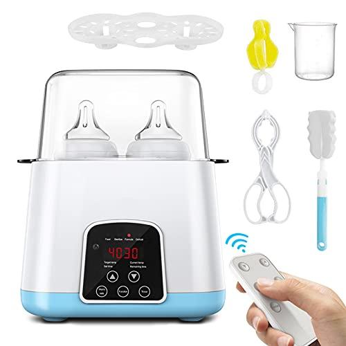 HebyTinco Calienta Biberones Multifuncionales, Esterilizador Biberones Calentador de Alimentos para bebés, con Pantalla LCD, Control Preciso de Temperatura (azul)