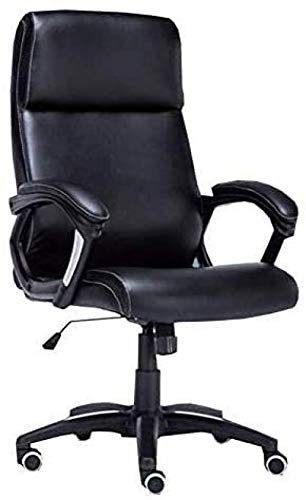 Office Chair Ergonomic Chair Black Office Chair|PU Leather Visitors Meeting Chair with Lumbar Support|High-Back Executive Desk Chair with Smooth