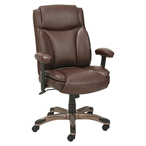 Alera ALE Veon Series Leather MidBack Manager's Chair w/Coil Spring Cushioning, Brown