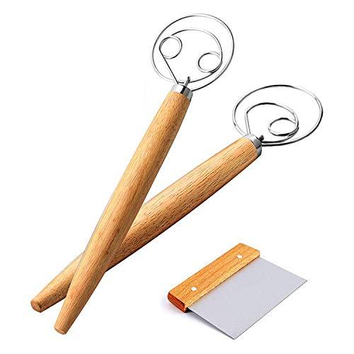 RETYLY 3Er Pack D?Nische Teig-Schneebesen-Sets, Teigschaber zum Backen, 2 StüCk Brot-Handmixer, Sauerteig-Brotbackwerkzeug