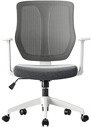 JYHQ Silla de oficina ergonómica con respaldo alto de malla para escritorio con reposabrazos, silla de ordenador, altura ajustable (color: blanco) (color: blanco)