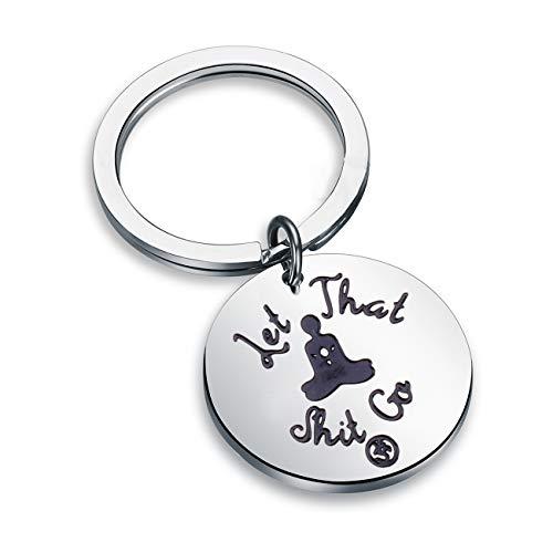 Detailed Funny Let That Shot Go Buddha Keychain Yoga Yogi Zen Gift (Keyring)