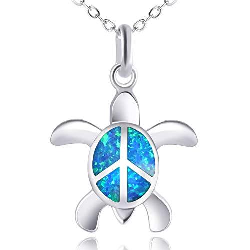 KELITCH Paz Mar Tortuga Gargantilla Collares Longevidad Creado Ópalo Colgante Collares Piedra del Zodíaco Joyería (Azul)