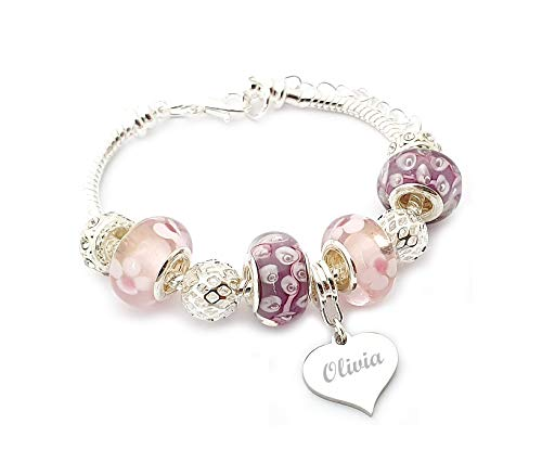SanaBelle Personalised Engraved Name Pink & Lilac Charm Bracelet Girl's