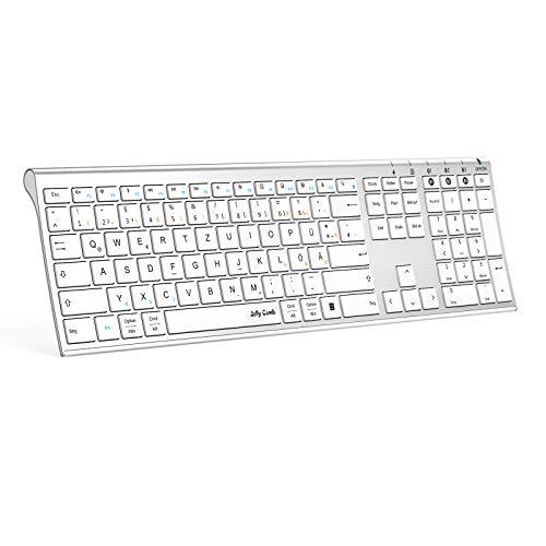 Jelly Comb Bluetooth Tastatur, Multi-Device Ultradünne Kabellose Bluetooth-Tastatur wiederaufladbar, Full-Size QWERTZ Funktastatur für PC, Tablet, Handy, Windows, iOS, Mac OS(Weiß und Silber)