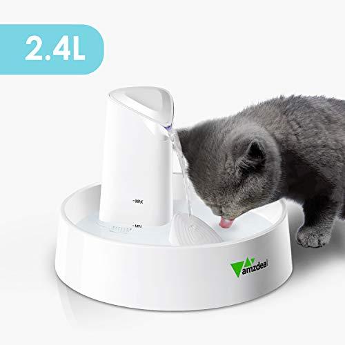 Amzdeal Fuente para Gatos Silenciosa 2.4L - Bebedero para Mascotas con