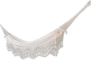 NOVICA Natural White Ecru Cotton 2 Person Hand Woven XL Brazilian Hammock with Handmade Crochet Fringe, Manaus Majesty'...