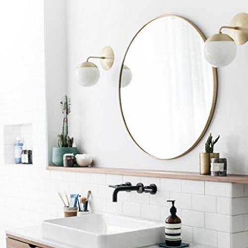 Miroir Nordic Fer Miroir Rond Miroir Champagne Or Rond Miroir Penderie Simple Salle De Bains Salle De Bains Chambre Miroir De Courtoisie (Couleur : NOIR, taille : 70cm)