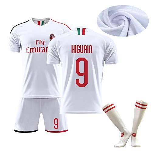 Camiseta de fútbol para niños, Higuain9 Kaka 22 Calhanoglu10, Nueva Temporada de 19-20 Segunda equipación de fútbol de Verano, Limpieza repetible, la Mejor opción para los fanáticos-White9-16