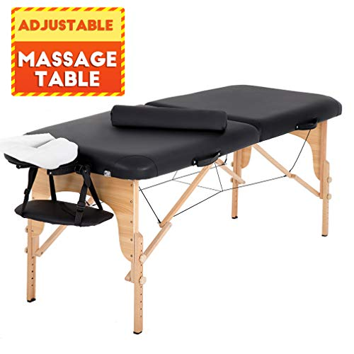 "Portable Massage Table 2 Fold Massage Bed Spa Bed 73"" L 28"" W Height Adjustable Massage Table with Bolsters Carry Case"