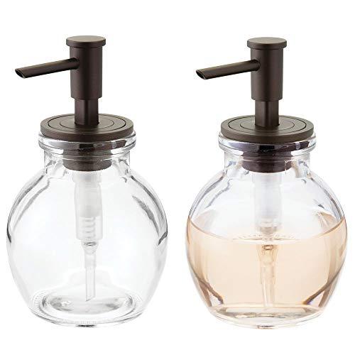 mDesign distributeur de savon rechargeable (lot de 2) – petit pousse mousse en verre et plastique – pompe à savon de 400 mL pour cuisine ou salle de bain – transparent/noir mat