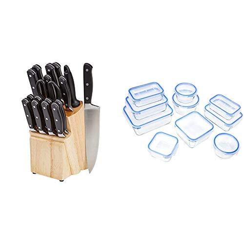 AmazonBasics Premium - Juego de cuchillos de cocina y soporte (18 piezas) + - Recipientes de cristal para alimentos, con cierre 20 piezas (10 envases + 10 tapas), sin BPA