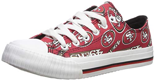FOCO NFL San Francisco 49Ers Women's Low Top Repeat Print Canvas Shoe, X-Large, Team Color