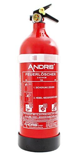 Feuerlöscher 2L ABF Fettbrand Schaum-Löscher mit Manometer DIN EN3 Orig. ANDRIS® inkl. Prüfnachweis mit Jahresmarke + ISO Symbolschild