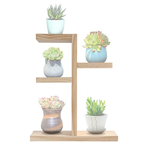 Wood Mini Tabletop Plant Stand Indoor Narrow Windowsill Plant Shelf Table top Cute Succulent Rack for Small Pot in Countertop Living Room, Bedroom, Study Room,Office Display or Decor