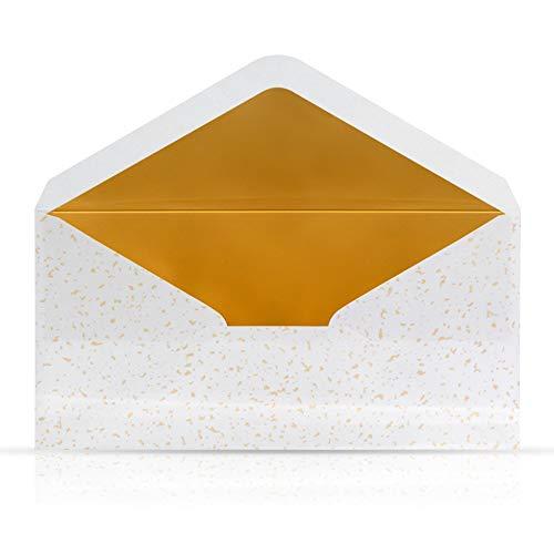 10 Briefumschläge Briefkuverts Weiß mit Gold Metallic Innenfutter Nassklebung 110 x 220 mm für Grußkarten Gutscheine Geldgeschenke Einladungsumschläge