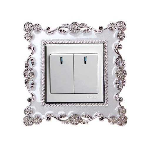 Vosarea 3 piezas pegatinas de interruptor rosa encaje moda sala decoración interruptor pastas etiqueta de la pared para sala cocina dormitorio
