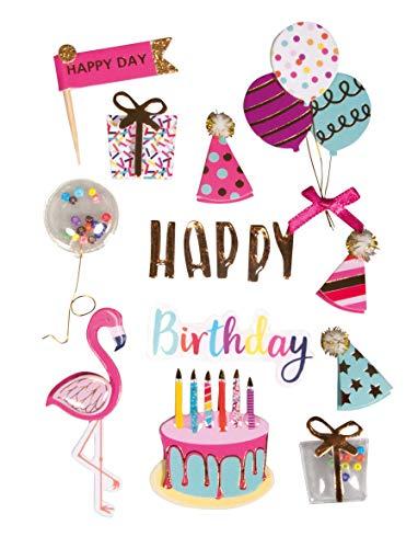 Rayher 50112000 3D Birthday Party Sticker mit Effekten, Aufkleber Geburtstag für Kartengestaltung und Scrapbooking, 16 Stück