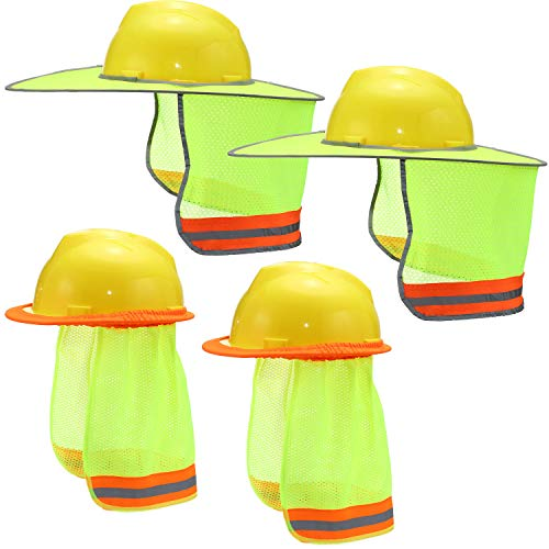 4 Pieces Hard Hat Sun Shade Full Brim Sunshield Mesh Hard Hat Neck Sun Hat Shield with Reflective Strip Hard Hat Not Included 2 Styles
