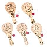 TOYANDONA Juego de 5 pelotas de pádel de 9 pulgadas de madera para voleibol, juguete DIY, juego de pelota de pádel para niños o niñas