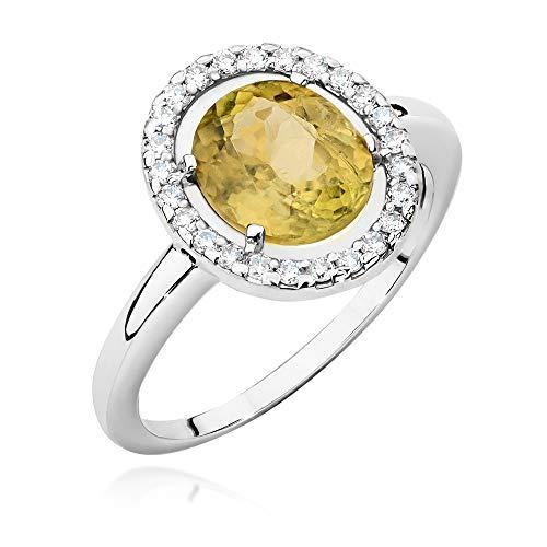 Women's Ring 585 14 Carat White Gold Genuine Zultanite Gemstone Diamonds Diamonds
