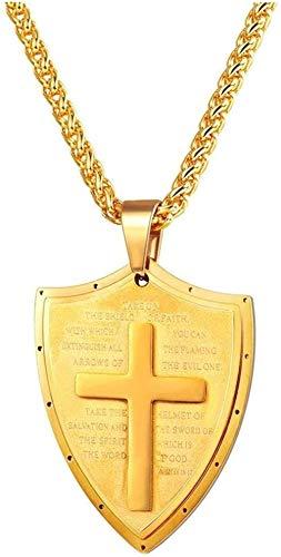 LBBYMX Co.,ltd Collar de Moda Cruz Escudo Collares Pendientes Collar de Acero Inoxidable Cadena de Mujeres Encantos Hombres Joyería Cristiana Regalos