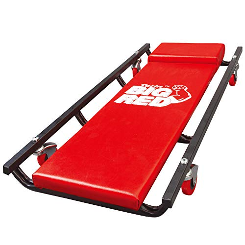 """BIG RED TR6453 Torin Rolling Garage/Shop Creeper: 36"""" Padded Mechanic Cart with 4 Casters, Red, 4-wheel"""
