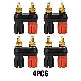 Conector de altavoz Post AMP Terminal de terminal, doble cobre, 2 vías, conector banana Jack (4 unidades)