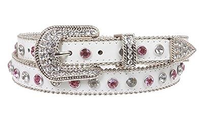 "1"" Western Rhinestone Leather Belt Size: M/L - 35 Color: White"
