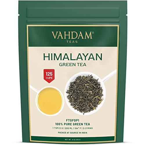 Hojas de té verde de Himalaya (más de 100+ tazas), hojas sueltas de té verde 100% natural, poderosos antioxidantes naturales, cosecha fresca, 255gr, té verde de hojas sueltas