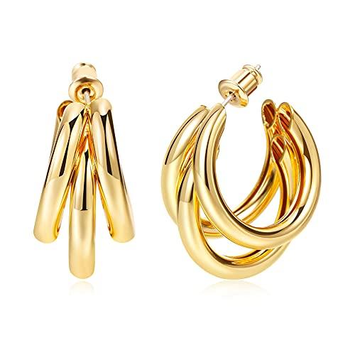 14K Gold Plated hoops Huggie Earrings for Women, Chunky Gold Split Huggie Earrings Jewelry Gift