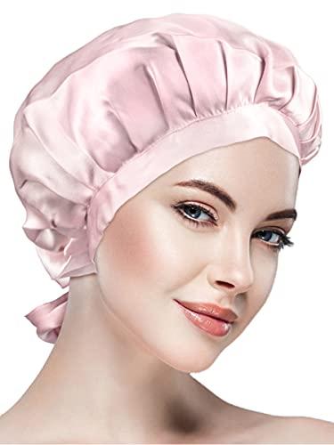 ナイトキャップシルクシルクキャップシルク100%紐付きサイズ調整可能ロングヘアショートヘア対応ヘアキャップ就寝用ピンク