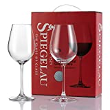 Spiegelau Red Wine Glasses Set of 2 Lead Free Titanium Crystal Wine Glass 18 oz Large Bowl Long Stemmed Glassware For Great Tasting Wine Perfect Wedding Birthday & Christmas Gift