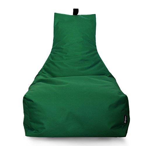 Lounge Sitzsack Liege Beanbag 32 Farben wählbar 90cm(Ø) Rückenlehne Bodenkissen Indoor Outdoor Sitzsäcke Gaming Kinder Bean Bag Erwachsene Riesensitzsack gefüllter Sessel (Dunkelgrün)