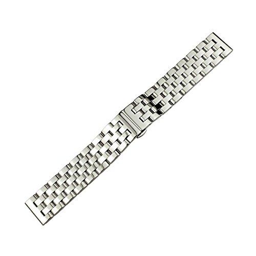 RECHERE - Correa de reloj de acero inoxidable con extremo recto, eslabones sólidos, plateado/negro, 20 mm, 22 mm, 24 mm, 26 mm