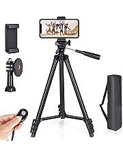 Veasion Mobiel Statief 130cm(51inch)camera statief voor iphone, statief voor mobiele telefoon en Bluetooth afstandsbediening , geschikt voor Various models of camera en mobile phones