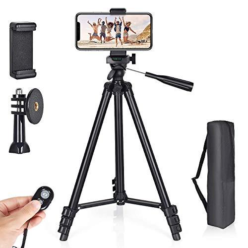 Handy Stativ 130cm Aluminium Kamera Stativ für Handy, iPhone, Gopro mit Adapter und Universellen Smartphone Halterung und Bluetooth Fernbedienung