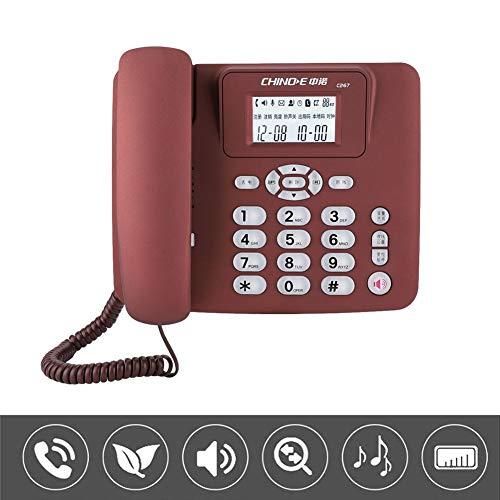 Diyeeni C267 Teléfono Inalámbrico Fijo para el Hogar, Teléfono de Escritorio Oficina de la Casa, Móvil Teléfono de Escritorio(Rojo)