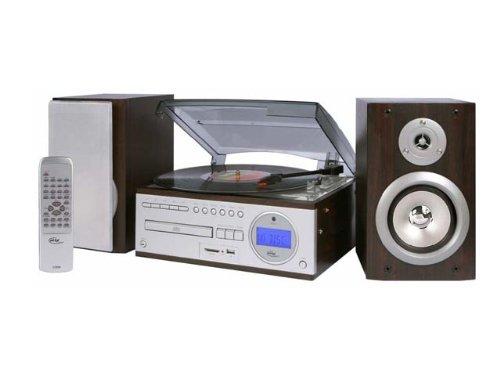 Elta 2399N Music Center mit PLL-Tuner, Plattenspieler, RDS und USB/SD-MP3 Rekorder schwarz/Silber