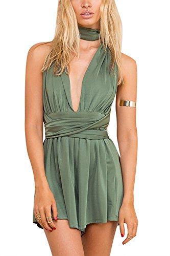 YOINS Women Playsuit Romper Convertible Plunge V Neck Sleeveless Backless Green XL