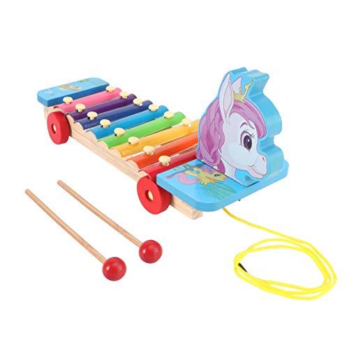 TOYANDONA 1 Juego de Colorido 8 Tonos Mano Golpe Instrumento Musical Xilófono Madera Dibujos Animados Unicornio 3D Juguete Musical Juguete para Niños Instrumento de Iluminación Musical