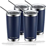 4 Pack 20oz Insulated Tumblers with Lid & Gift Box | Stainless Steel Coffee Cup by Umite Chef | Double Wall Vacuum Insulated Travel Coffee Mug with Splash Proof slid lid (Navy Blue)