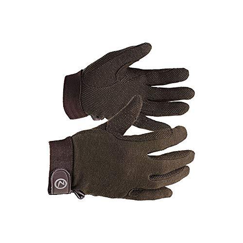 horze Basic Polygrip Reithandschuhe, Leichte Baumwoll Handschuhe, Größe 4.5-10, Weiß, Braun, Schwarz, Braun, L