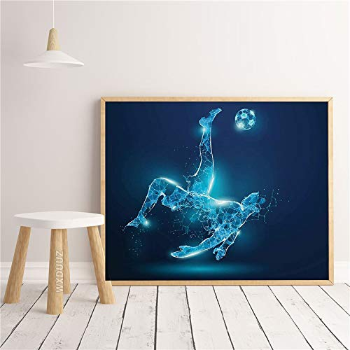 fdgdfgd Acuarela geométrica fútbol Arte Imprimir Pared habitación de los niños Aficionado al fútbol decoración de la habitación Pintura Arte decoración Cartel Arte de la Pared Pintura