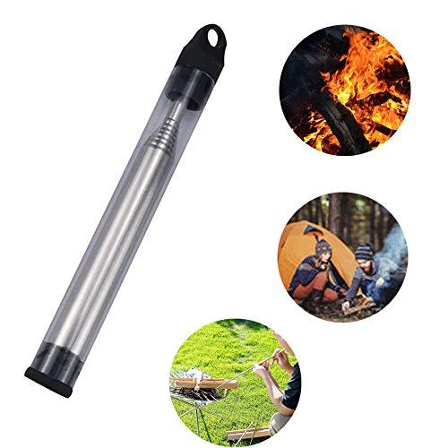 Pocket Bellow, Blow Fire tubo, Soffietto Fire Tube Pieghevole in Acciaio, per Campeggio Caminetto Itinerante, Cucinare in Campeggio Pic-nic all'aperto